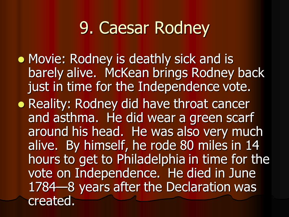 Movie: Rodney is deathly sick and is barely alive. McKean brings Rodney back just in time for the Independence vote. Movie: Rodney is deathly sick and