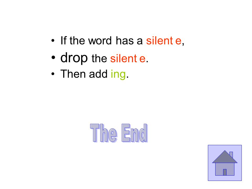 taste How does the word end. silent e. This is the way the end must be...