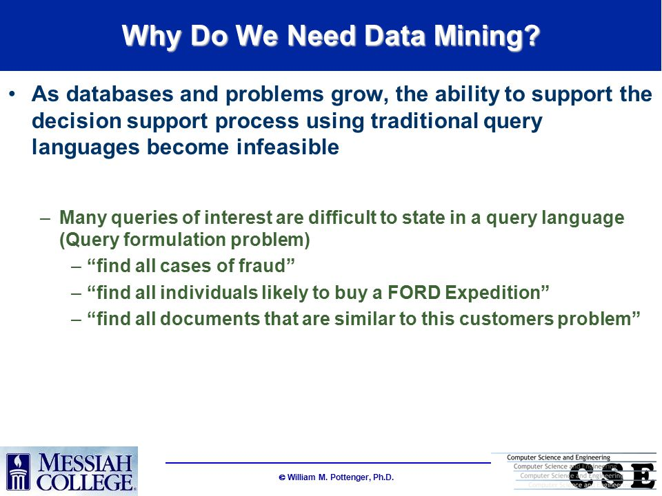  William M. Pottenger, Ph.D. Why Do We Need Data Mining.