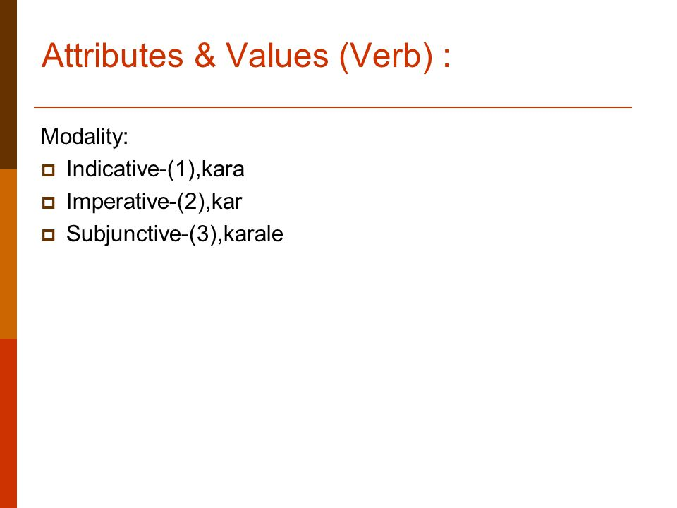 Attributes & Values (Verb) : Modality:  Indicative-(1),kara  Imperative-(2),kar  Subjunctive-(3),karale
