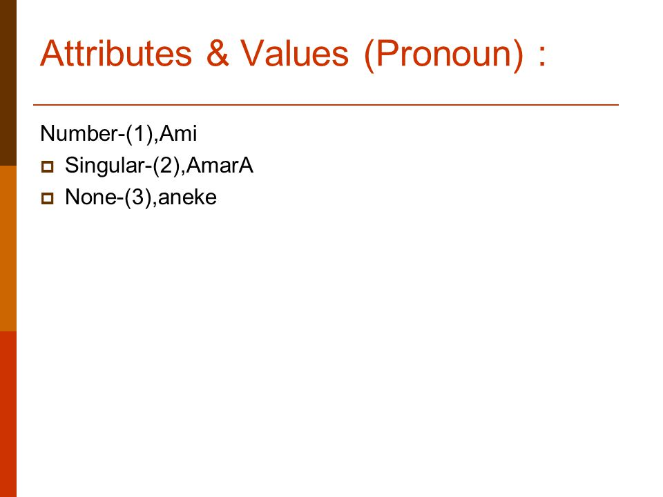 Attributes & Values (Pronoun) : Number-(1),Ami  Singular-(2),AmarA  None-(3),aneke