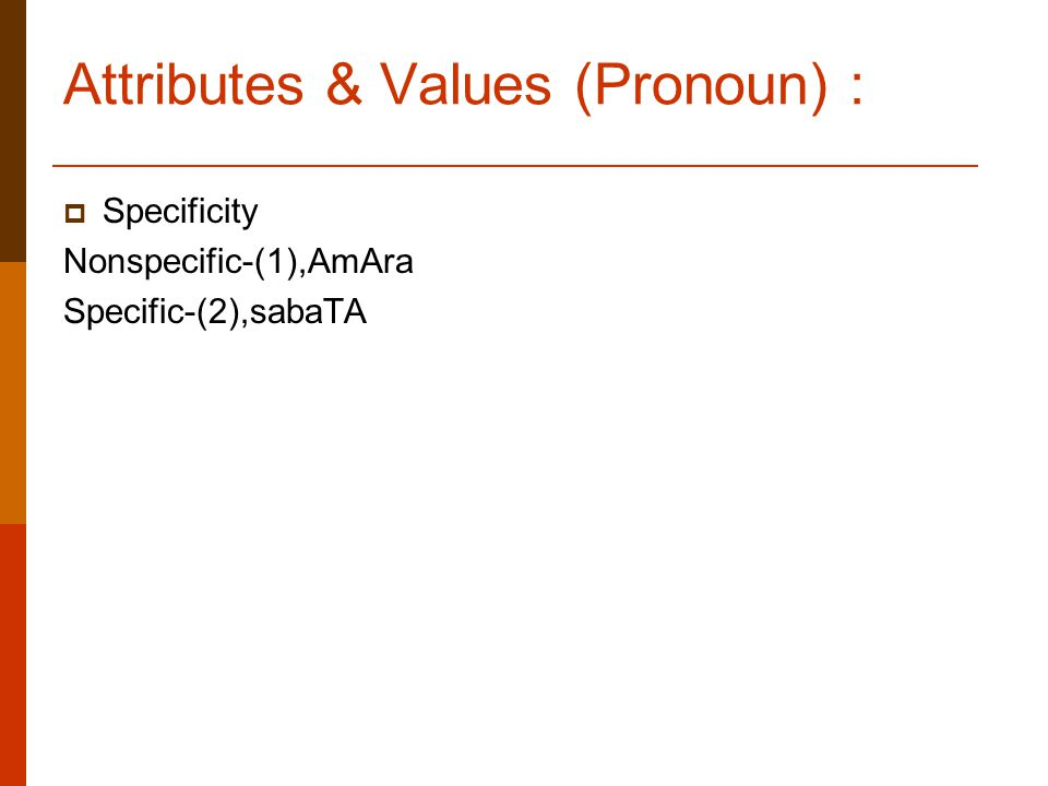 Attributes & Values (Pronoun) :  Specificity Nonspecific-(1),AmAra Specific-(2),sabaTA