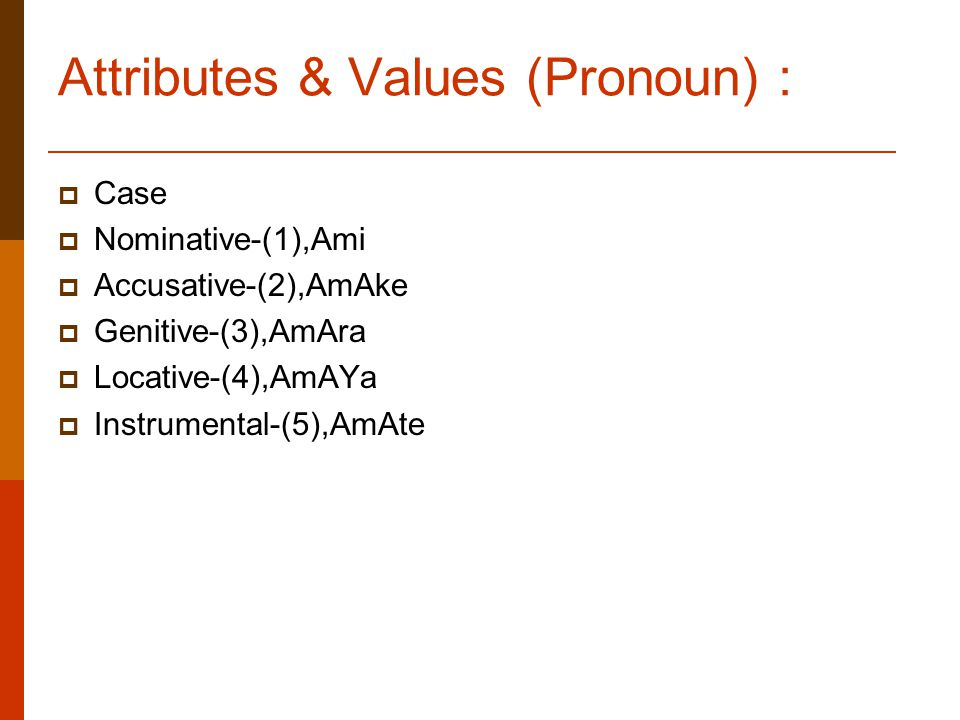 Attributes & Values (Pronoun) :  Case  Nominative-(1),Ami  Accusative-(2),AmAke  Genitive-(3),AmAra  Locative-(4),AmAYa  Instrumental-(5),AmAte