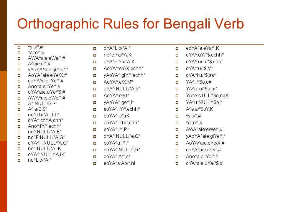 Orthographic Rules for Bengali Verb  ^y:;i/*,#  ^a:;o/*,#  AWA^aie:eWe/*,#  A^aie:e/*,#  yAoYA^aie:giYe/*,*  AoYA^aie:eYe/X,#  eoYA^aie:iYe/*,#  Ano^aie:iYe/*,#  oYA^aie:uYe/*$,#  AWA^aie:eWe/*,#  A^:NULL/B,~*  A^:a/B,$*  no^:ch/*A,chh*  oYA^:ch/*A,chh*  Ano^:iY/*,echh*  no^:NULL/*A,E*  no^F:NULL/*A,G*  oYA^F:NULL/*A,G*  no^:NULL/*A,iK  oYA^:NULL/*A,iK  no^L:o/*A,*  oYA^L:o/*A,*  no^e:Ya/*A,K  oYA^e:Ya/*A,K  AoYA^:eY/X,echh*  yAoYA^:giY/*,echh*  AoYA^:e/X,M*  oYA^:NULL/*A,b*  AoYA^:e/y,t*  yAoYA^:ge/*,l*  eoYA^:iY/*,echh*  eoYA^:i;/*,iK  eoYA^:ich/*,chh*  eoYA^:i/*,P*  oYA^:NULL/*e,Q*  eoYA^u:i/*,*  eoYA^:NULL/*,R*  eoYA^:A/*,o*  eoYA^a:Ao/*,ni  eoYA^e:eYa/*,K  oYA^:uY/*$,echh*  oYA^:uch/*$,chh*  oYA^:u/*$,V*  oYA^i:u/*$,sa*  YA^:;/*$o,o#  YA^a:;o/*$o,ni*  YA^e:NULL/*$o,naK  YA^u:NULL/*$o,*  A^e:a/*$oY,K  ^y:;i/*,#  ^a:;o/*,#  AWA^aie:eWe/*,#  yAoYA^aie:giYe/*,*  AoYA^aie:eYe/X,#  eoYA^aie:iYe/*,#  Ano^aie:iYe/*,#  oYA^aie:uYe/*$,#