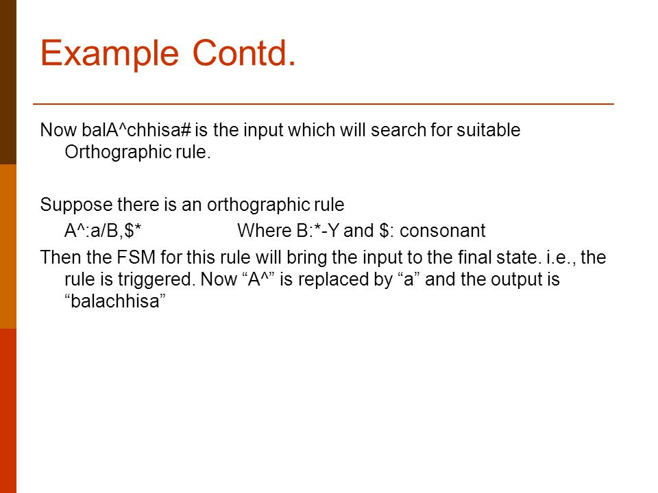 Example Contd. Now balA^chhisa# is the input which will search for suitable Orthographic rule.