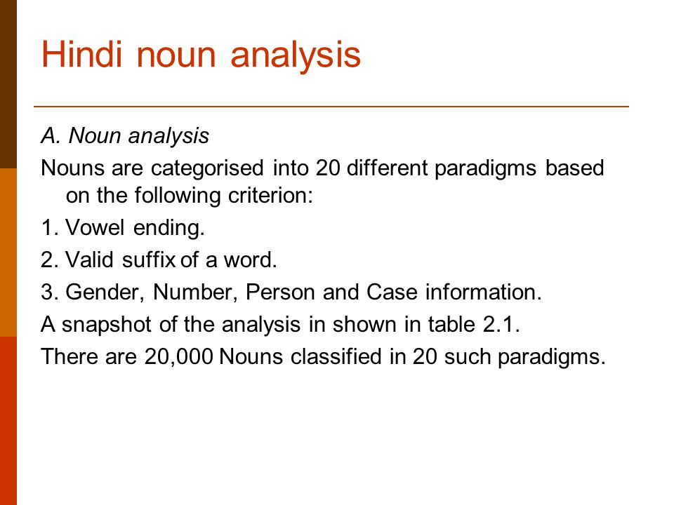 Hindi noun analysis A.