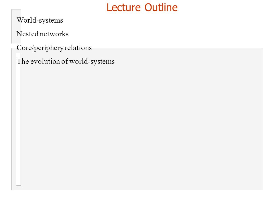 Lecture Outline World-systems Nested networks Core/periphery relations The evolution of world-systems