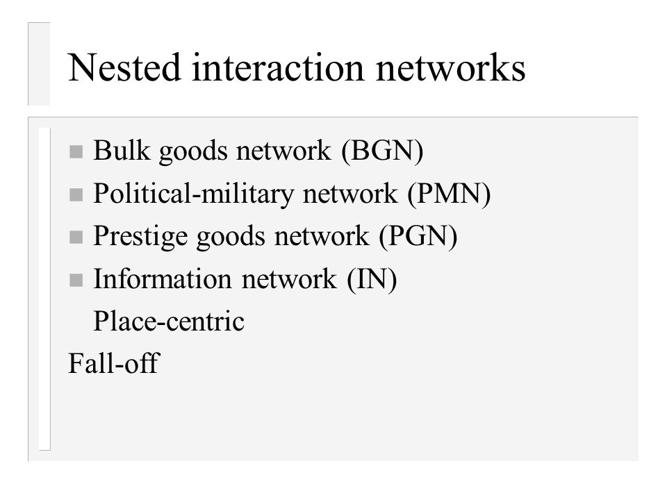 Nested interaction networks n Bulk goods network (BGN) n Political-military network (PMN) n Prestige goods network (PGN) n Information network (IN) Place-centric Fall-off