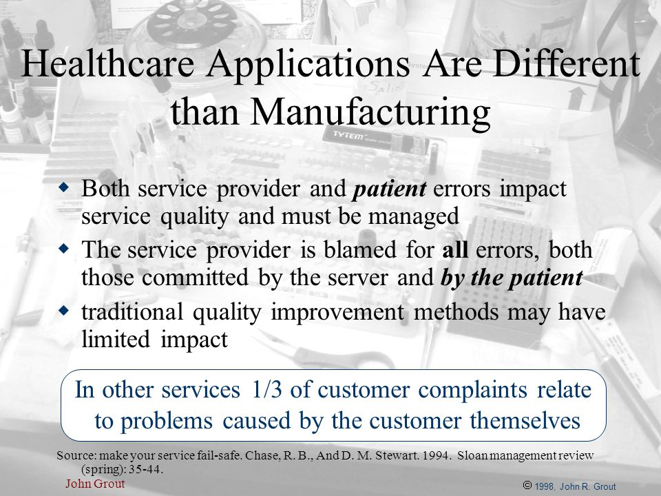 John Grout Healthcare Applications Are Different than Manufacturing  Both service provider and patient errors impact service quality and must be mana