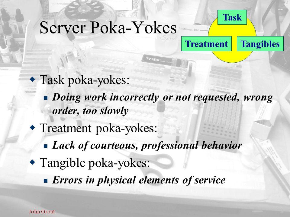 John Grout Server Poka-Yokes  Task poka-yokes: Doing work incorrectly or not requested, wrong order, too slowly  Treatment poka-yokes: Lack of court