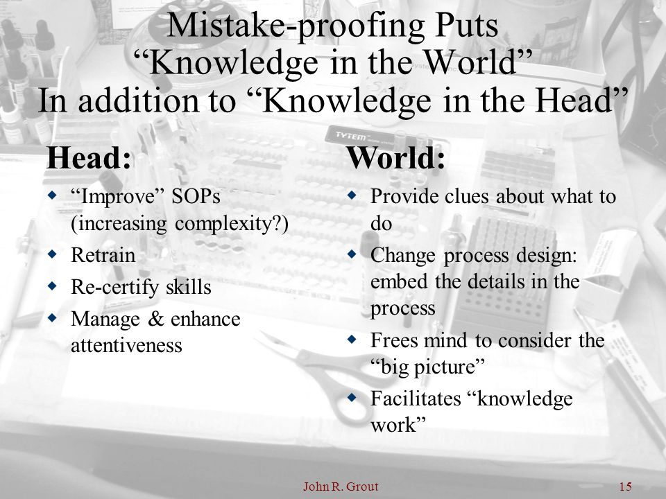 """John R. Grout15 Mistake-proofing Puts """"Knowledge in the World"""" In addition to """"Knowledge in the Head"""" Head:  """"Improve"""" SOPs (increasing complexity?)"""