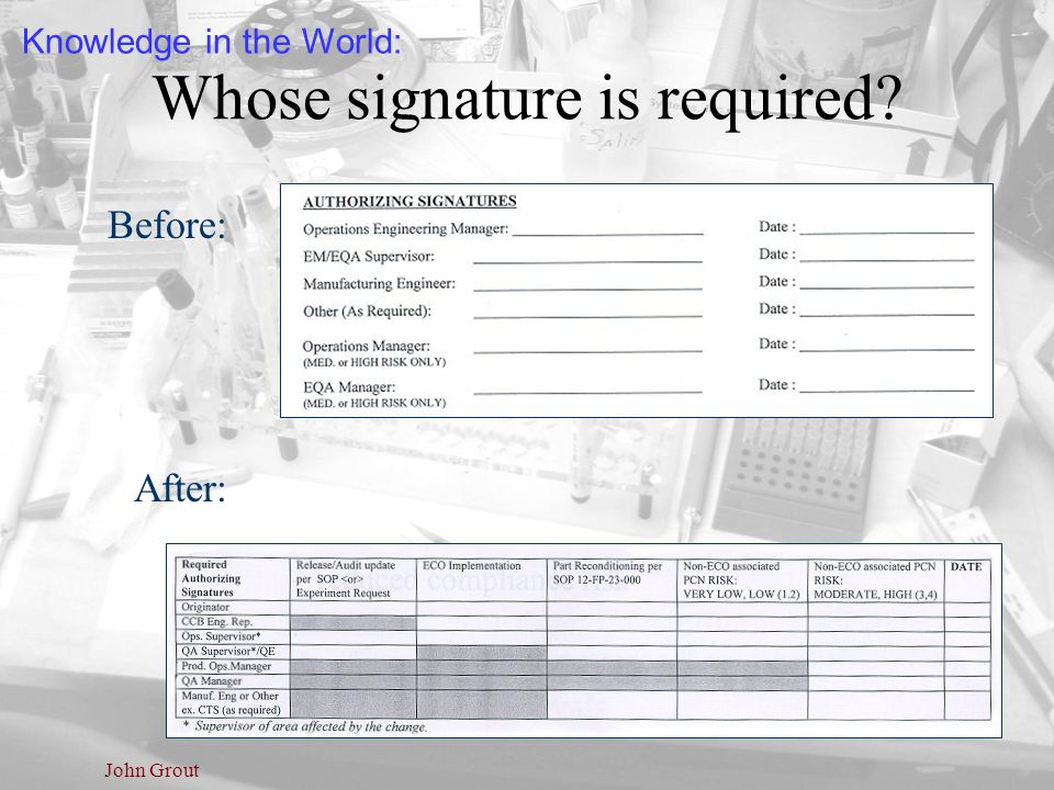 John Grout Whose signature is required? Before: After: Knowledge in the World: