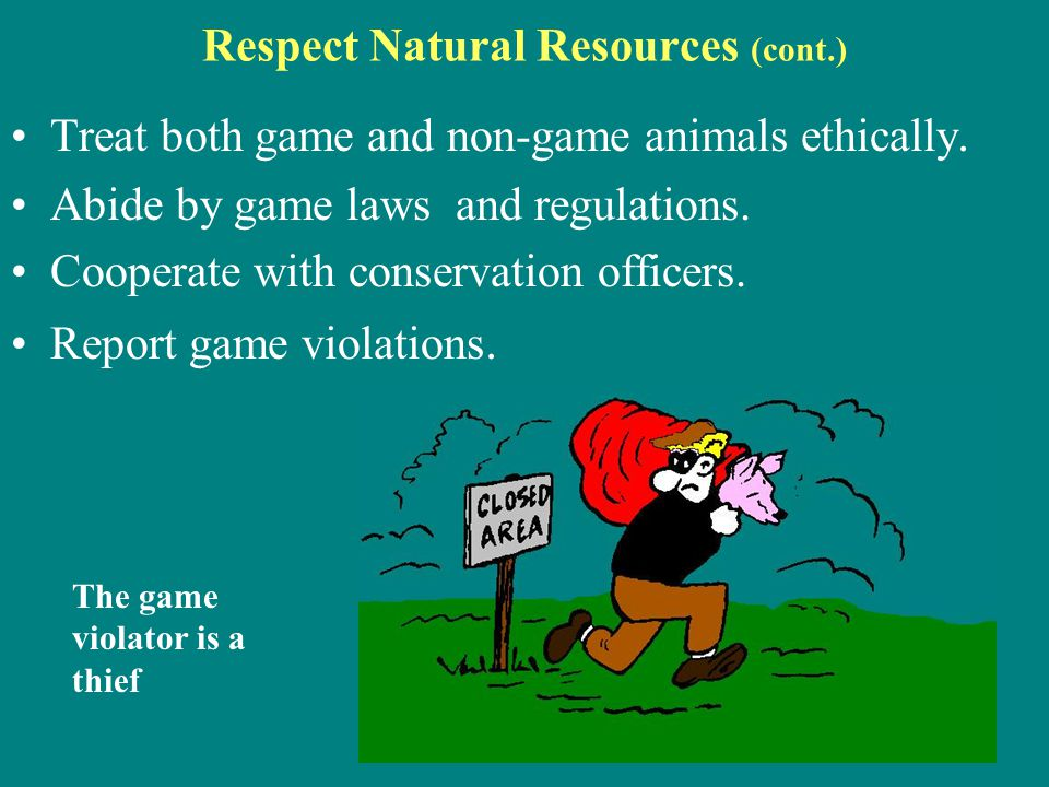 Respect Natural Resources (cont.) Treat both game and non-game animals ethically. Abide by game laws and regulations. Cooperate with conservation offi