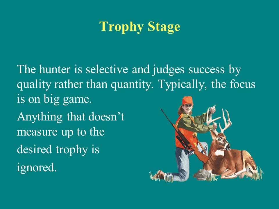Trophy Stage The hunter is selective and judges success by quality rather than quantity. Typically, the focus is on big game. Anything that doesn't me