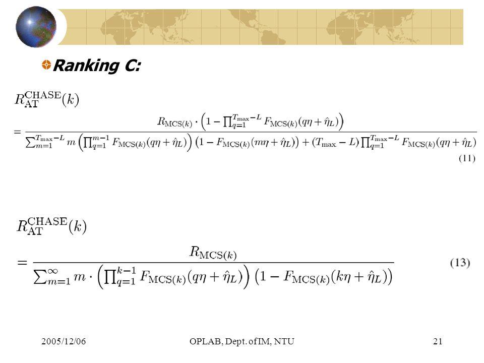 2005/12/06OPLAB, Dept. of IM, NTU21 Ranking C: