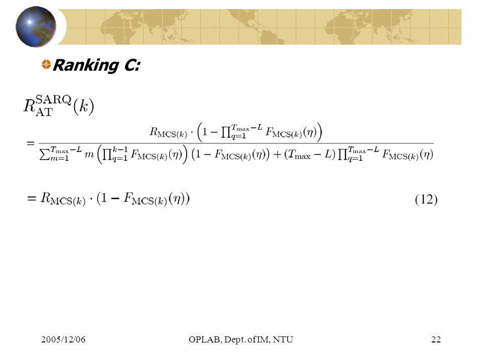 2005/12/06OPLAB, Dept. of IM, NTU22 Ranking C: