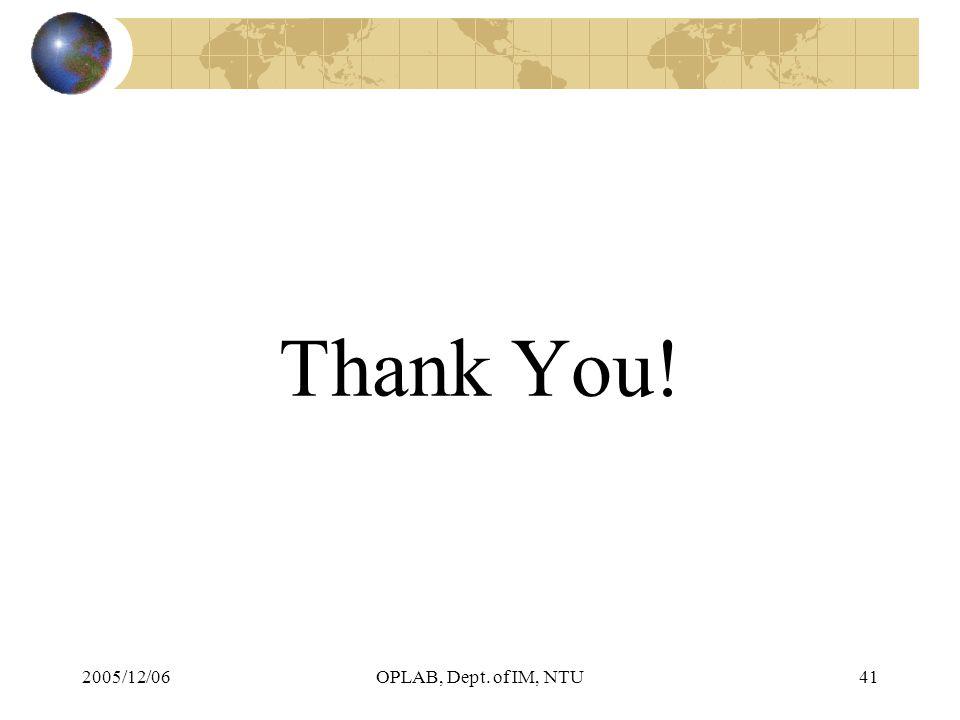 2005/12/06OPLAB, Dept. of IM, NTU41 Thank You!
