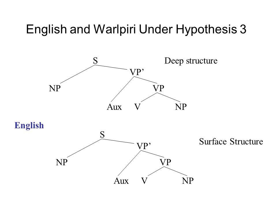 English and Warlpiri Under Hypothesis 3 NP VP VP' S Aux V NP Deep structure NP VP VP' S Aux V NP Surface Structure English