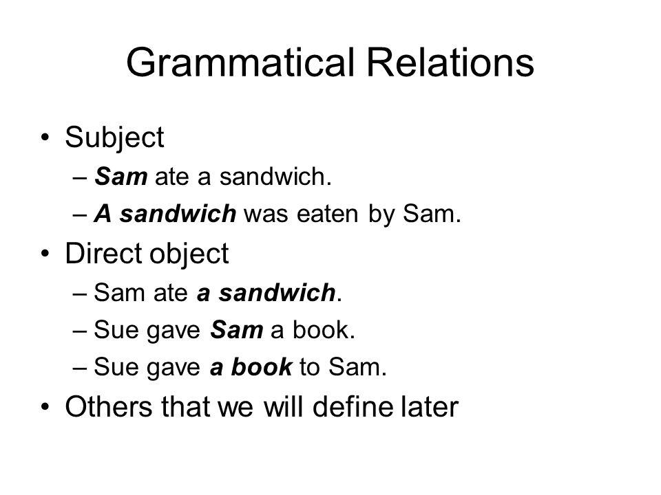 Grammatical Relations Subject –Sam ate a sandwich.