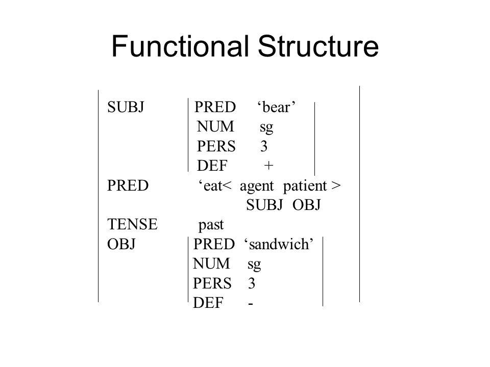 Functional Structure SUBJ PRED 'bear' NUM sg PERS 3 DEF + PRED 'eat SUBJ OBJ TENSE past OBJ PRED 'sandwich' NUM sg PERS 3 DEF -