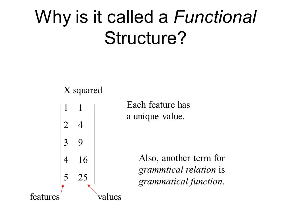 Why is it called a Functional Structure. X squared1 24 39 416 525 Each feature has a unique value.