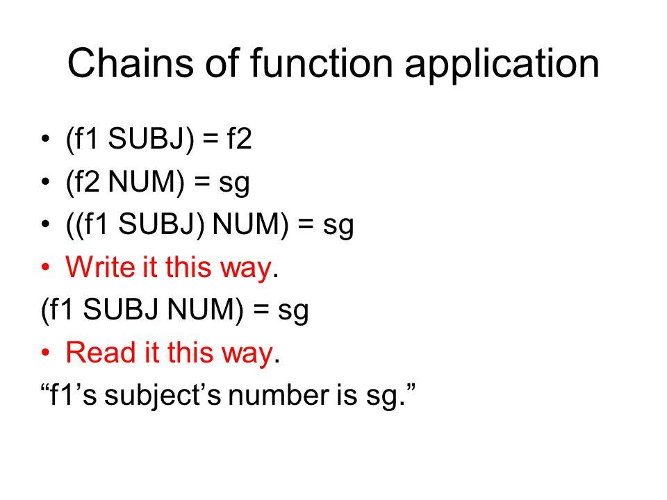 Chains of function application (f1 SUBJ) = f2 (f2 NUM) = sg ((f1 SUBJ) NUM) = sg Write it this way.