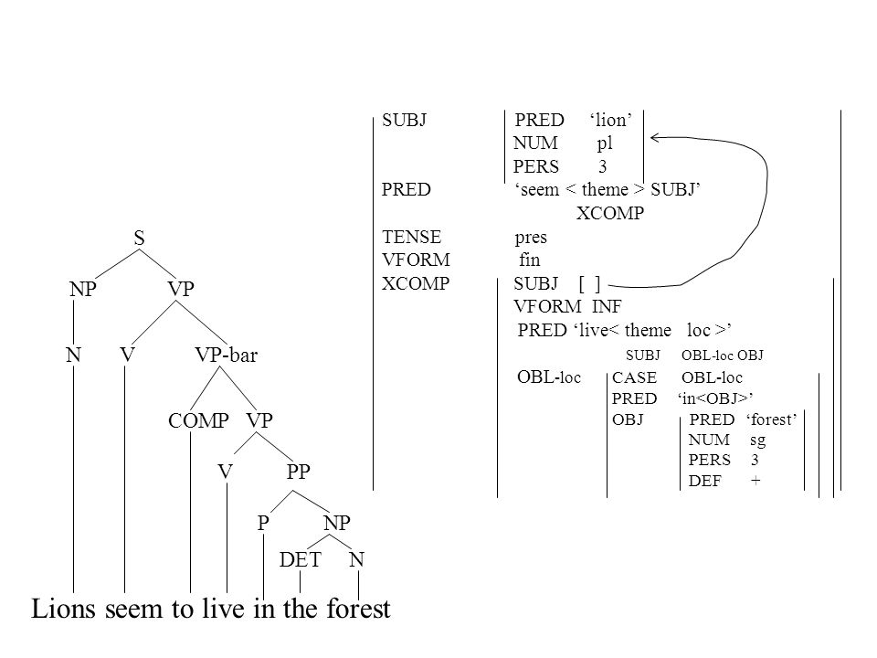 Lions seem to live in the forest DET N P NP V PP COMP VP N V VP-bar NP VP S SUBJ PRED 'lion' NUM pl PERS 3 PRED 'seem SUBJ' XCOMP TENSE pres VFORM fin XCOMP SUBJ [ ] VFORM INF PRED 'live ' SUBJ OBL-loc OBJ OBL -loc CASE OBL-loc PRED 'in ' OBJ PRED 'forest' NUM sg PERS 3 DEF +