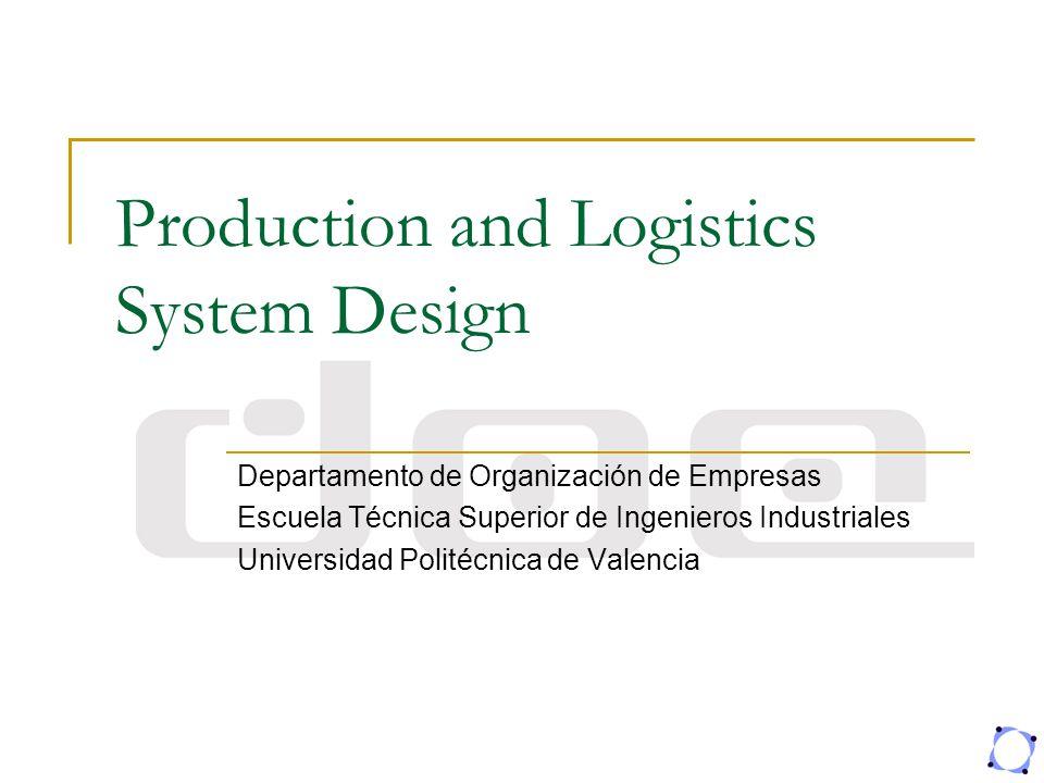 Production and Logistics System Design Departamento de Organización de Empresas Escuela Técnica Superior de Ingenieros Industriales Universidad Polité
