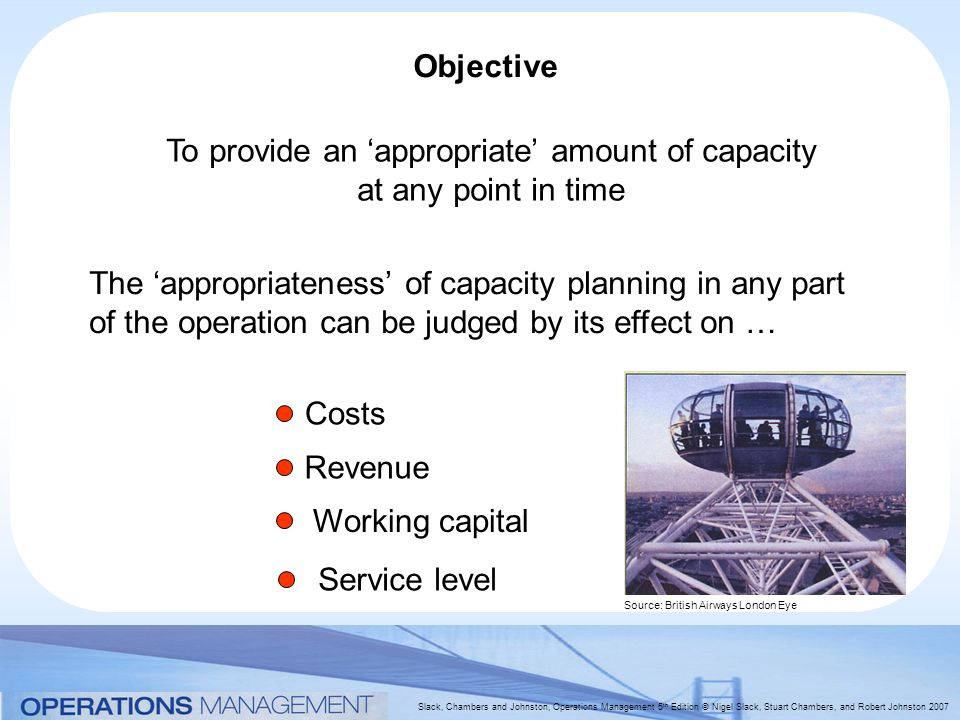 Slack, Chambers and Johnston, Operations Management 5 th Edition © Nigel Slack, Stuart Chambers, and Robert Johnston 2007 Objective To provide an 'appropriate' amount of capacity at any point in time The 'appropriateness' of capacity planning in any part of the operation can be judged by its effect on … Costs Revenue Working capital Service level Source: British Airways London Eye
