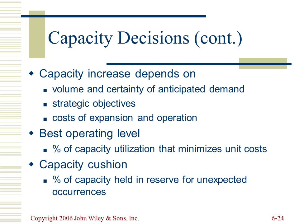 Copyright 2006 John Wiley & Sons, Inc.6-24 Capacity Decisions (cont.)   Capacity increase depends on volume and certainty of anticipated demand strategic objectives costs of expansion and operation   Best operating level % of capacity utilization that minimizes unit costs   Capacity cushion % of capacity held in reserve for unexpected occurrences