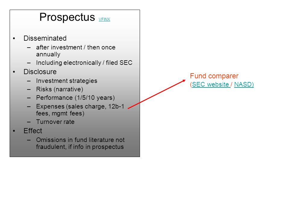 Prospectus VFINX VFINX Disseminated –after investment / then once annually –Including electronically / filed SEC Disclosure –Investment strategies –Risks (narrative) –Performance (1/5/10 years) –Expenses (sales charge, 12b-1 fees, mgmt fees) –Turnover rate Effect –Omissions in fund literature not fraudulent, if info in prospectus Fund comparer (SEC website / NASD)SEC website NASD)