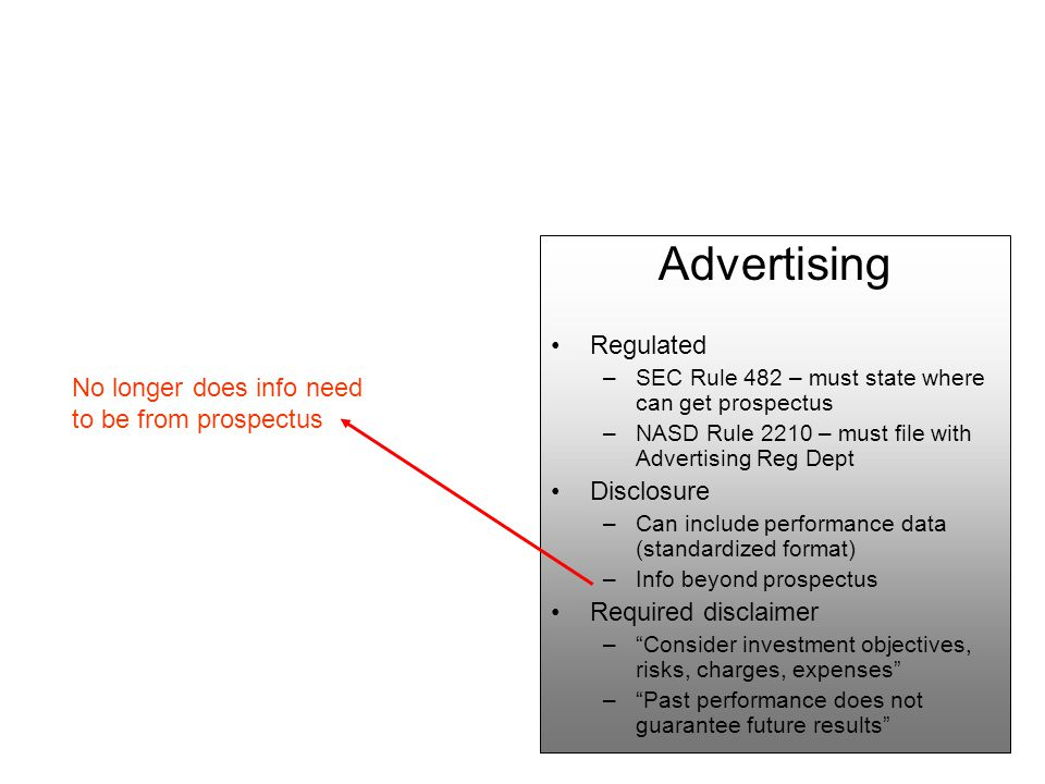 Advertising Regulated –SEC Rule 482 – must state where can get prospectus –NASD Rule 2210 – must file with Advertising Reg Dept Disclosure –Can include performance data (standardized format) –Info beyond prospectus Required disclaimer – Consider investment objectives, risks, charges, expenses – Past performance does not guarantee future results No longer does info need to be from prospectus