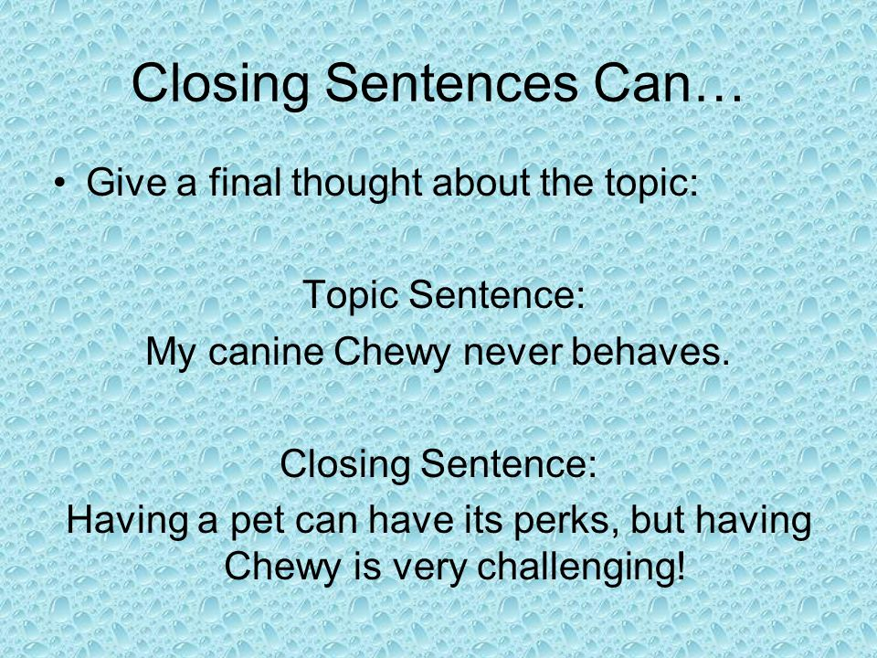 Closing Sentences Can… Give the reader advice, or get your reader to agree with you.