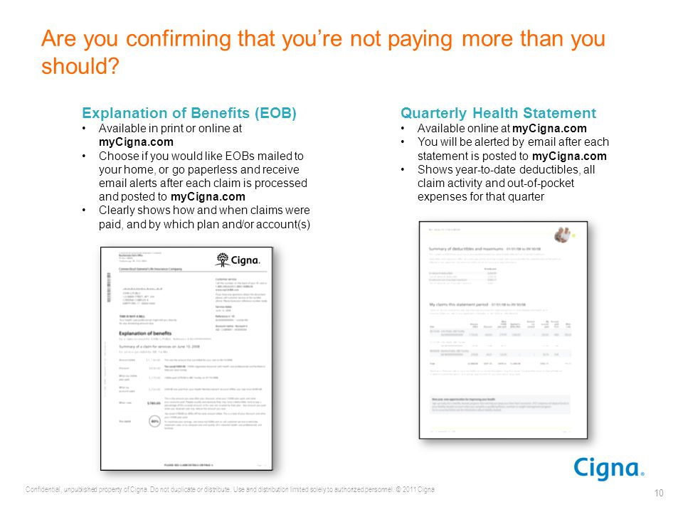 Confidential, unpublished property of Cigna. Do not duplicate or distribute. Use and distribution limited solely to authorized personnel. © 2011 Cigna