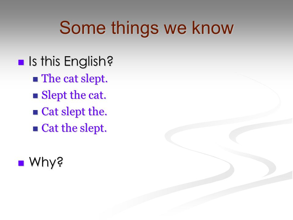 Some things we know Is this English? Is this English? The cat slept. The cat slept. Slept the cat. Slept the cat. Cat slept the. Cat slept the. Cat th