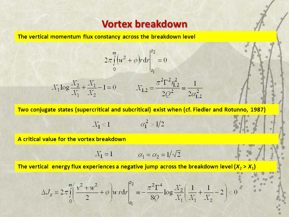 Vortex breakdown The vertical momentum flux constancy across the breakdown level Two conjugate states (supercritical and subcritical) exist when (cf.