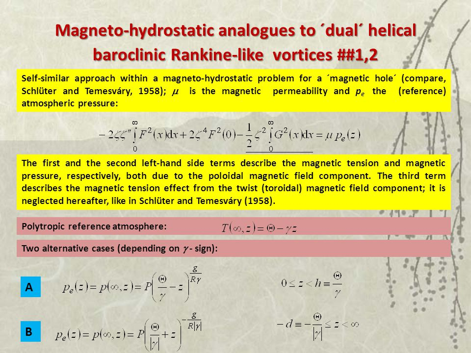 Magneto-hydrostatic analogues to ´dual´ helical baroclinic Rankine-like vortices ##1,2 The first and the second left-hand side terms describe the magnetic tension and magnetic pressure, respectively, both due to the poloidal magnetic field component.