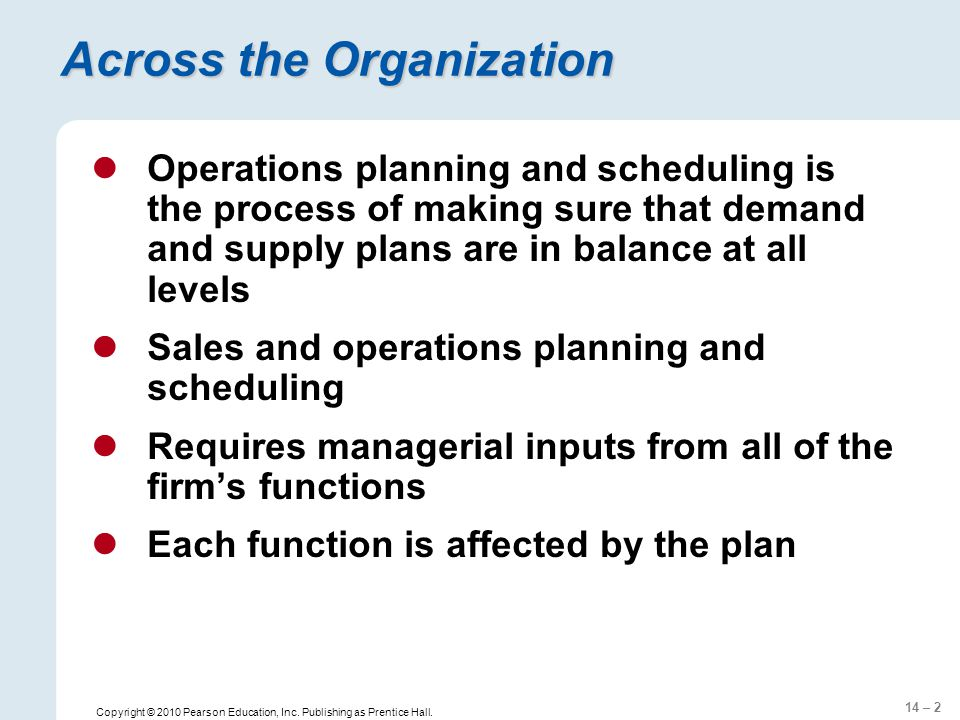 14 – 2 Copyright © 2010 Pearson Education, Inc. Publishing as Prentice Hall. Across the Organization Operations planning and scheduling is the process