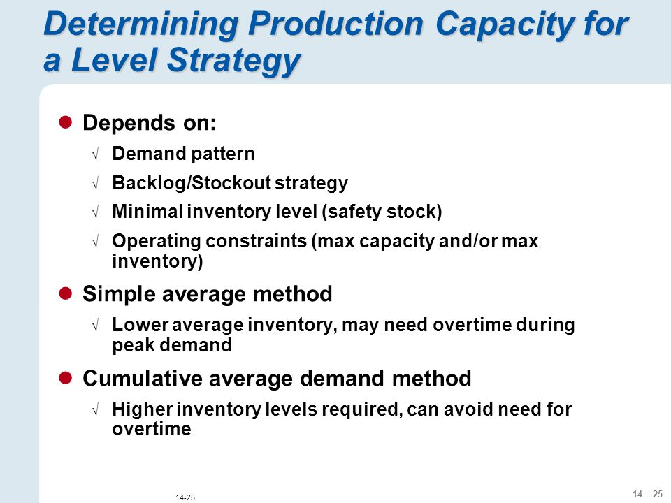 14 – 25 14-25 Determining Production Capacity for a Level Strategy Depends on:  Demand pattern  Backlog/Stockout strategy  Minimal inventory level (safety stock)  Operating constraints (max capacity and/or max inventory) Simple average method  Lower average inventory, may need overtime during peak demand Cumulative average demand method  Higher inventory levels required, can avoid need for overtime
