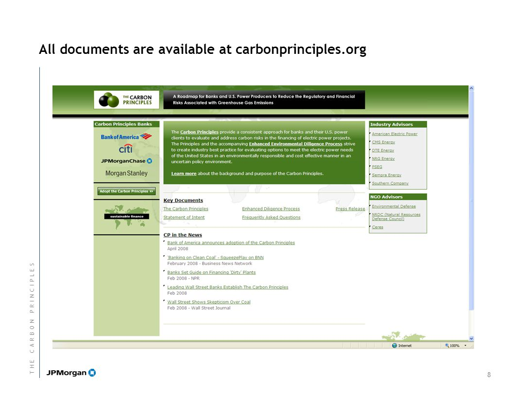 All documents are available at carbonprinciples.org 8 T H E C A R B O N P R I N C I P L E ST H E C A R B O N P R I N C I P L E S