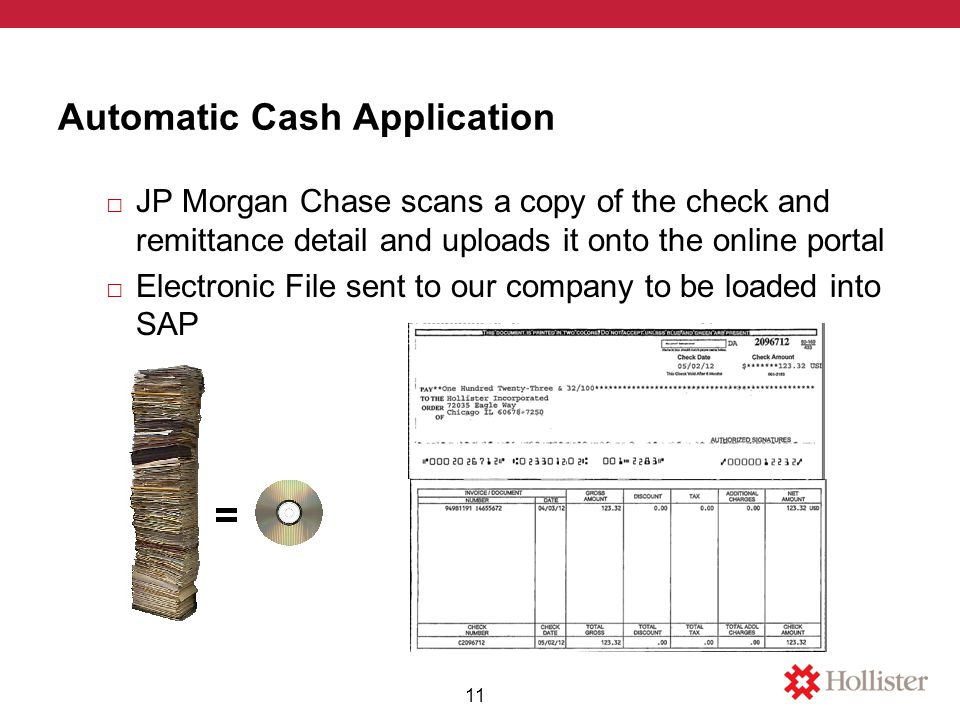 Automatic Cash Application □ JP Morgan Chase scans a copy of the check and remittance detail and uploads it onto the online portal □ Electronic File sent to our company to be loaded into SAP 11