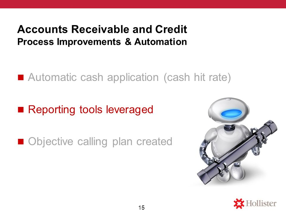 Accounts Receivable and Credit Process Improvements & Automation Automatic cash application (cash hit rate) Reporting tools leveraged Objective calling plan created 15