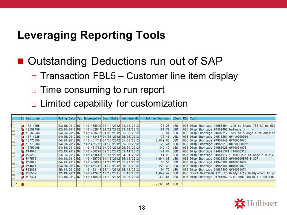 Leveraging Reporting Tools Outstanding Deductions run out of SAP □ Transaction FBL5 – Customer line item display □ Time consuming to run report □ Limited capability for customization 18