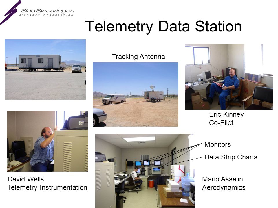 Telemetry Data Station Eric Kinney Co-Pilot Mario Asselin Aerodynamics David Wells Telemetry Instrumentation Monitors Data Strip Charts Tracking Antenna