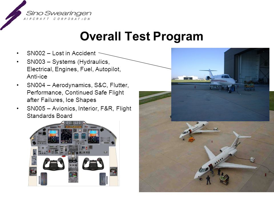 Overall Test Program SN002 – Lost in Accident SN003 – Systems (Hydraulics, Electrical, Engines, Fuel, Autopilot, Anti-ice SN004 – Aerodynamics, S&C, Flutter, Performance, Continued Safe Flight after Failures, Ice Shapes SN005 – Avionics, Interior, F&R, Flight Standards Board