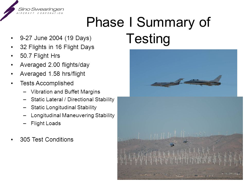 Phase I Summary of Testing 9-27 June 2004 (19 Days) 32 Flights in 16 Flight Days 50.7 Flight Hrs Averaged 2.00 flights/day Averaged 1.58 hrs/flight Tests Accomplished –Vibration and Buffet Margins –Static Lateral / Directional Stability –Static Longitudinal Stability –Longitudinal Maneuvering Stability –Flight Loads 305 Test Conditions