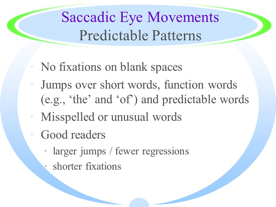 Saccadic Eye Movements Predictable Patterns ·No fixations on blank spaces ·Jumps over short words, function words (e.g., 'the' and 'of') and predictab