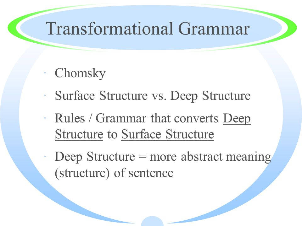 Transformational Grammar ·Chomsky ·Surface Structure vs.
