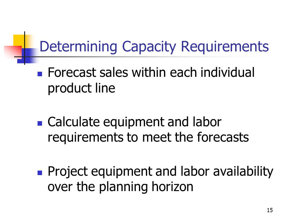 15 Determining Capacity Requirements Forecast sales within each individual product line Calculate equipment and labor requirements to meet the forecas