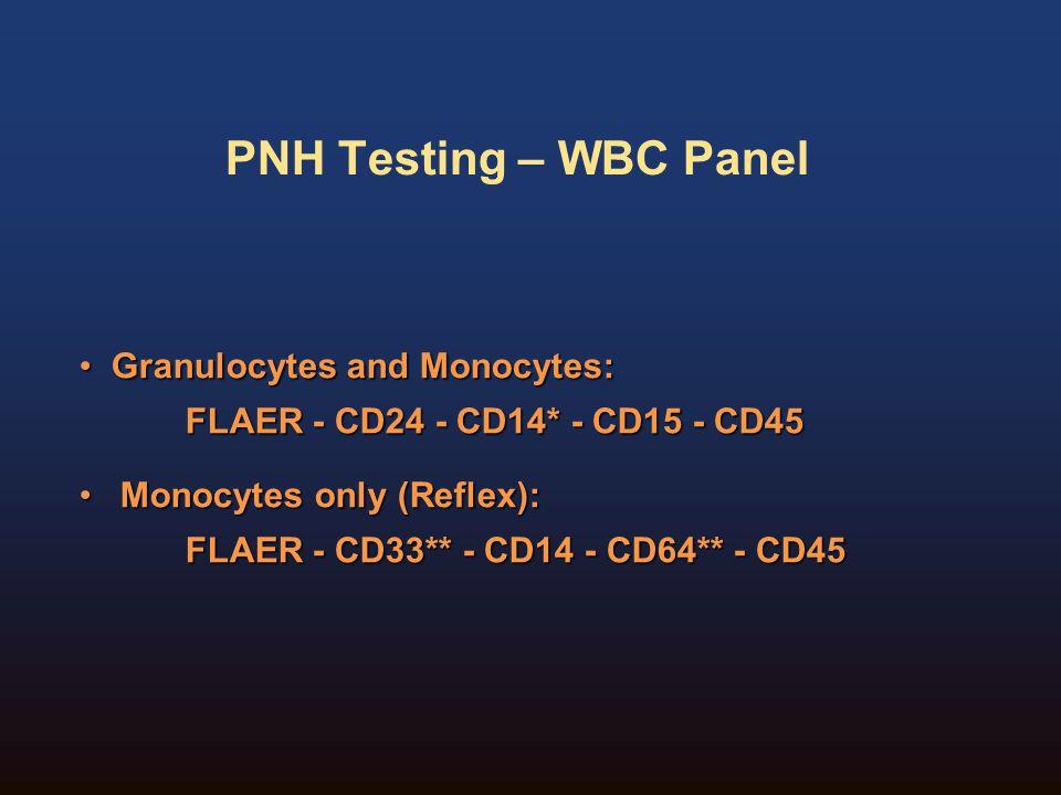 PNH Testing – WBC Panel Granulocytes and Monocytes: Granulocytes and Monocytes: FLAER - CD24 - CD14* - CD15 - CD45 Monocytes only (Reflex): Monocytes